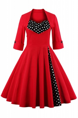 1/2 Sleeve Bow Tie Two Toned Vintage Dress with Pleats clearance sale & free shipping_4