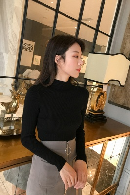 Fitted Top in a fine-knit viscose blend   Long Sleeves Round Neckline Sweater_1