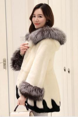 Abrigo con capucha de media longitud negro / blanco de piel sintética | Chaqueta de piel sintética con cuello chal artificial islandés_6