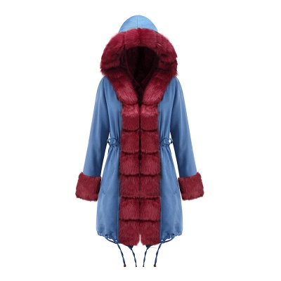 Midnight Blue Hooded Long-length Faux Fur Coat | Women's Solid Color Winter/Fall Jacket_37