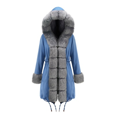 Midnight Blue Hooded Long-length Faux Fur Coat | Women's Solid Color Winter/Fall Jacket_39