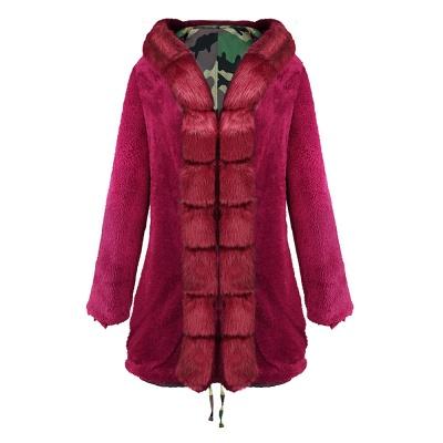 Electric Army Green Faux Fur Chubby Jacket | Superstar Faux Fur Coat in Burgundy/Black/Gray Shawl Collar_34