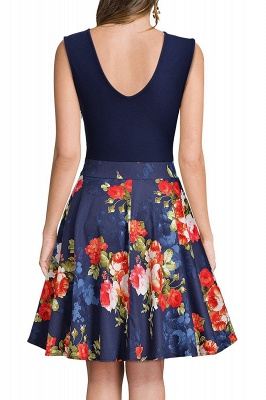 Sleeveless Sexy V-neck A-line Dress with Floral Skirt | Clearance Sale & Free Shipping_18