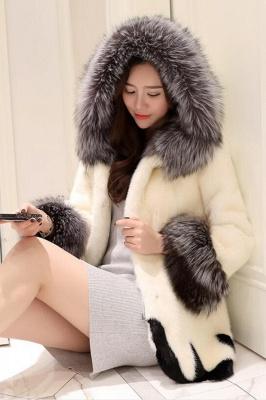 Abrigo con capucha de media longitud negro / blanco de piel sintética | Chaqueta de piel sintética con cuello chal artificial islandés_7