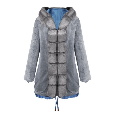 Midnight Blue Hooded Long-length Faux Fur Coat | Women's Solid Color Winter/Fall Jacket_30