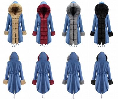 Midnight Blue Hooded Long-length Faux Fur Coat | Women's Solid Color Winter/Fall Jacket_26