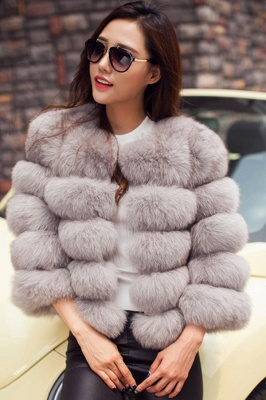 Women's Daily/Party Long Faux Fur Coat | Solid White/Pink/Ruby/Burgundy Colored Round Neck Long Sleeve Faux Fur Overcoat_10