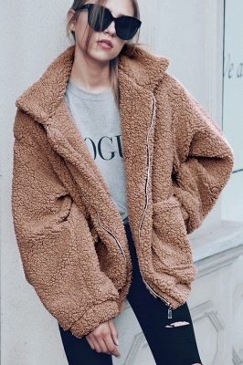 Going out Basic Regular Faux Fur Coat| Solid Colored Stand Long Sleeve Faux Fur White / Brown / Black_29