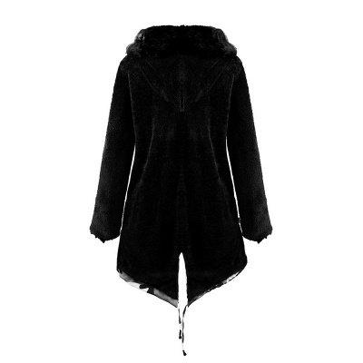 Женская куртка с капюшоном из искусственного меха с капюшоном   Пальто средней длины в бордовом / черном / сером воротнике_35