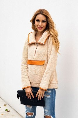 Going out Regular Hooded Fur Coat   Solid Colored Turndown Neck Long Sleeve Faux Fur Pink / Gray / Khaki_7