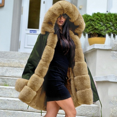Army Green Faux Fur-trimmed long-length Coat | Classic Solid Color Winter/Fall Jacket_5