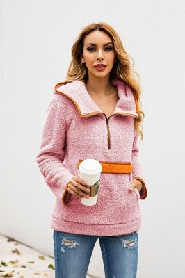 Going out Regular Hooded Fur Coat   Solid Colored Turndown Neck Long Sleeve Faux Fur Pink / Gray / Khaki_19