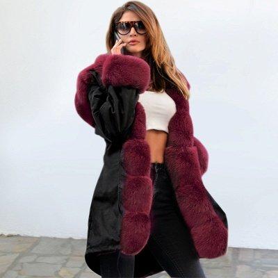 Manteau long garni de fausse fourrure noire   Manteau chaud en fourrure à capuche bordeaux / noir / gris Col châle_27