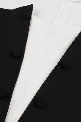 Черное и белое платье с круглым вырезом и круглым вырезом_11