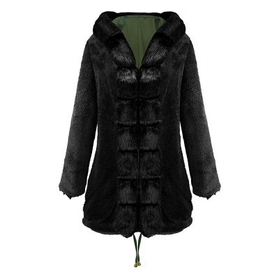 Army Green Faux Fur-trimmed long-length Coat | Classic Solid Color Winter/Fall Jacket_20