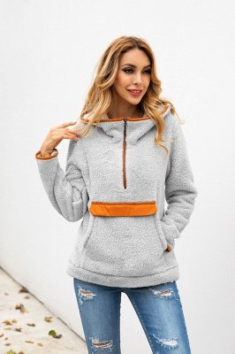 Going out Regular Hooded Fur Coat   Solid Colored Turndown Neck Long Sleeve Faux Fur Pink / Gray / Khaki_11