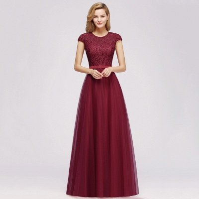 Elegant Lace Top Cap Sleeves Long Tulle Bridesmaid Dresses_9