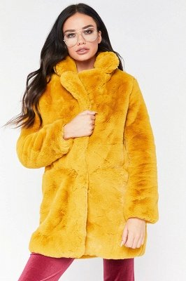 Daily Regular Stand Long Faux Fur Coat| Solid Colored Long Sleeve Faux Fur Yellow / Blue / Fuchsia_10