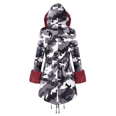 Women's Hooded Camouflage Faux Fur Fashionista Jacket | Mid-length Overcoat in Burgundy/Black/Gray Shawl Collar_31