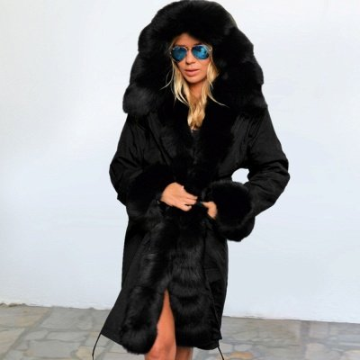Black Faux Fur-trimmed Long-length Overcoat | Warm Hooded Fur Coat in Burgundy/Black/Gray Shawl Collar_37
