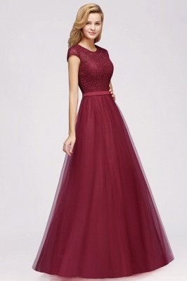Elegant Lace Top Cap Sleeves Long Tulle Bridesmaid Dresses_8