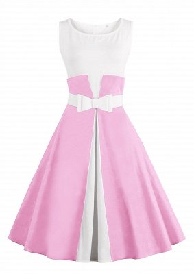 Ronni | Vintage A Line Two-toned 1950s Dress with Bow_1