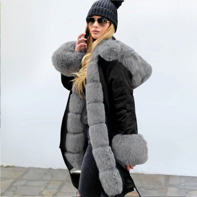 Black Faux Fur-trimmed Long-length Overcoat | Warm Hooded Fur Coat in Burgundy/Black/Gray Shawl Collar_39