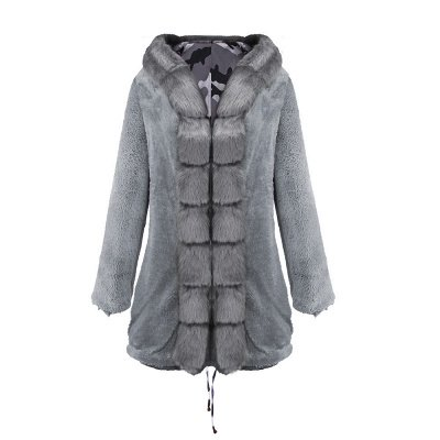 Women's Hooded Camouflage Faux Fur Fashionista Jacket | Mid-length Overcoat in Burgundy/Black/Gray Shawl Collar_33