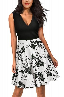 Sleeveless Sexy V-neck A-line Dress with Floral Skirt | Clearance Sale & Free Shipping_6