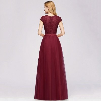 Elegant Lace Top Cap Sleeves Long Tulle Bridesmaid Dresses_11