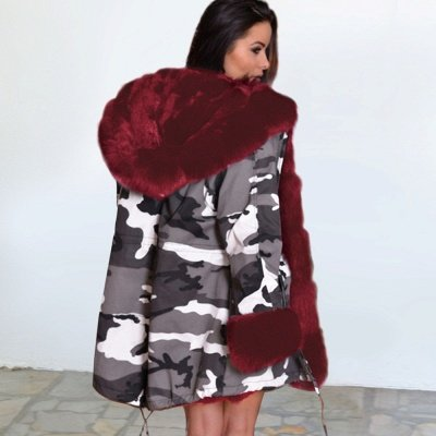 Women's Hooded Camouflage Faux Fur Fashionista Jacket | Mid-length Overcoat in Burgundy/Black/Gray Shawl Collar_7