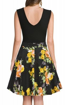 Sleeveless Sexy V-neck A-line Dress with Floral Skirt | Clearance Sale & Free Shipping_19