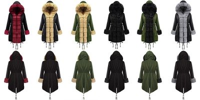 Manteau long garni de fausse fourrure noire   Manteau chaud en fourrure à capuche bordeaux / noir / gris Col châle_10