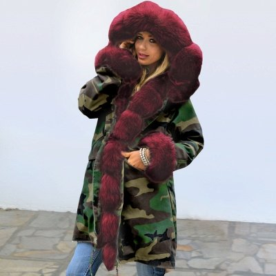 Electric Army Green Faux Fur Chubby Jacket | Superstar Faux Fur Coat in Burgundy/Black/Gray Shawl Collar_6