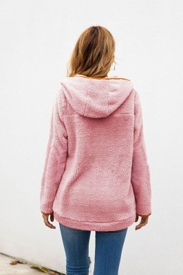 Going out Regular Hooded Fur Coat   Solid Colored Turndown Neck Long Sleeve Faux Fur Pink / Gray / Khaki_17