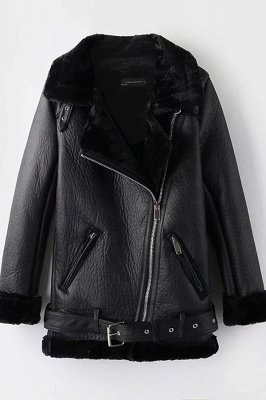 Casual Black Going out Winter Short Fur Coat | Chic Solid Colored Turndown Long Sleeve Faux Fur Coat