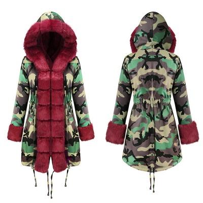 Electric Army Green Faux Fur Chubby Jacket | Superstar Faux Fur Coat in Burgundy/Black/Gray Shawl Collar_15