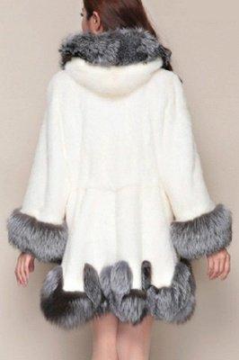 Черно-белое пальто из искусственного меха средней длины с капюшоном | Исландская искусственная шаль с воротником из искусственного меха_8