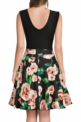 Sleeveless Sexy V-neck A-line Dress with Floral Skirt | Clearance Sale & Free Shipping_17