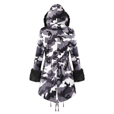 Women's Hooded Camouflage Faux Fur Fashionista Jacket | Mid-length Overcoat in Burgundy/Black/Gray Shawl Collar_22