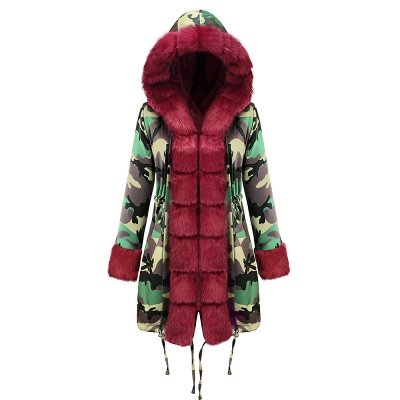 Electric Army Green Faux Fur Chubby Jacket | Superstar Faux Fur Coat in Burgundy/Black/Gray Shawl Collar_31