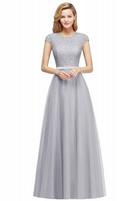 Elegant Lace Top Cap Sleeves Long Tulle Bridesmaid Dresses_5