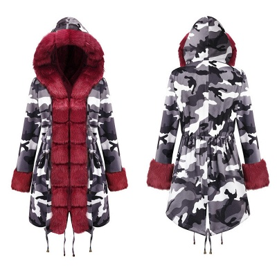 Women's Hooded Camouflage Faux Fur Fashionista Jacket | Mid-length Overcoat in Burgundy/Black/Gray Shawl Collar_21
