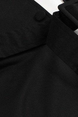 Черное и белое платье с круглым вырезом и круглым вырезом_8