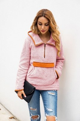 Going out Regular Hooded Fur Coat   Solid Colored Turndown Neck Long Sleeve Faux Fur Pink / Gray / Khaki_16