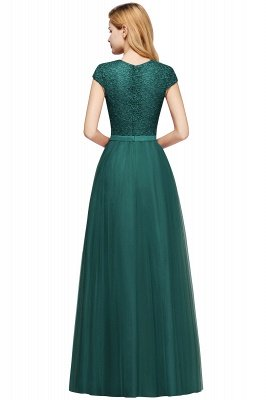 Elegant Lace Top Cap Sleeves Long Tulle Bridesmaid Dresses_15