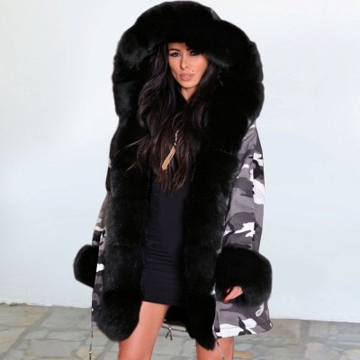 Women's Hooded Camouflage Faux Fur Fashionista Jacket | Mid-length Overcoat in Burgundy/Black/Gray Shawl Collar_2