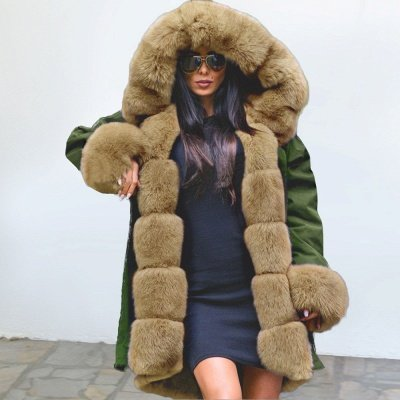 Army Green Faux Fur-trimmed long-length Coat | Classic Solid Color Winter/Fall Jacket_1