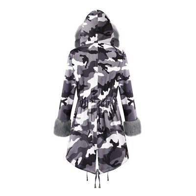 Women's Hooded Camouflage Faux Fur Fashionista Jacket | Mid-length Overcoat in Burgundy/Black/Gray Shawl Collar_30