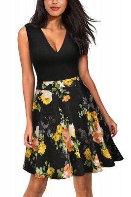 Sleeveless Sexy V-neck A-line Dress with Floral Skirt | Clearance Sale & Free Shipping_3